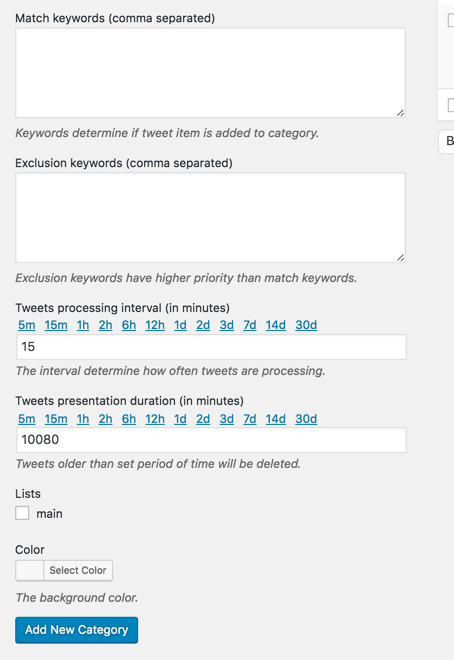 Aggregated twitter feeds categories settings