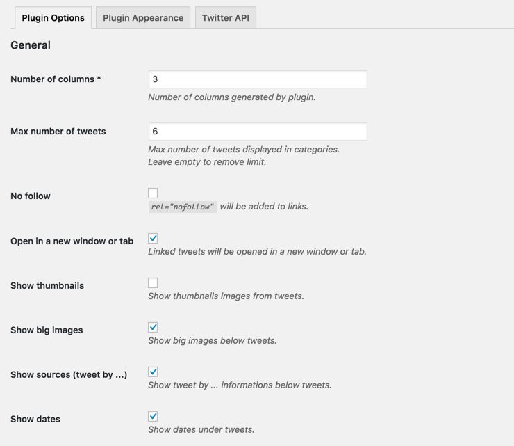 Aggregated twitter feeds - general settings