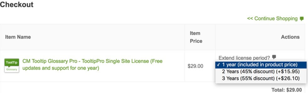Showing cart with dropbox offering license length and discount