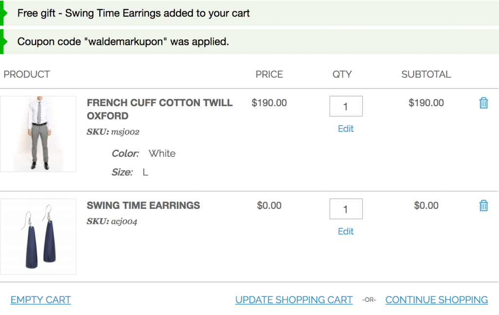 Free gift added to cart and discount coupon was applied