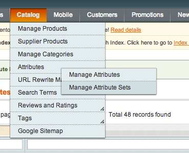 the attribute set is managed from the administrator dashboard in Magento.